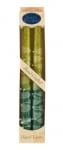 Pair of Kosher Safed Candle Tapers   Shades of Green