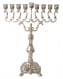 Large Nickel Chanukah Menorah Hanukia