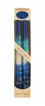 Pair of Kosher Safed Candle Tapers   Cool Blue