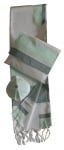 Gabrieli Silk Tallit Set    White and Green
