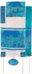 Emanuel Silk Tallit   Jerusalem in blue