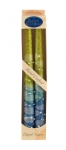 Pair of Kosher Safed Candle Tapers   Blue Aqua Yellow