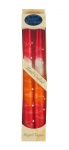 Pair of Kosher Safed Candle Tapers   Fiery Orange