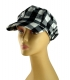 Womens White Black Checked Cap with Metallic Threads