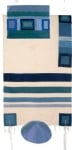 Emanuel Raw Silk Appliqued Tallit   Blue