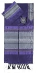 Gabrieli silk Tallit Set in Purple with Silver