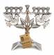 Dove of Peace Pewter Hanukkah Menorah