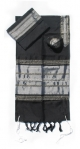 Gabrieli silk Tallit Set in Black with Silver
