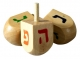 Wood Dreidel with colorful letters