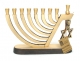 Brass Hanukkah Menorah Harp Design with Star of David