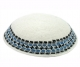 White DMC knitted Kippah with blue black border