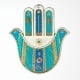Pewter Wall Hamsa by Ester Shahaf Turquoise Doves