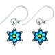 Baby Blue Flowers Star of David Earrings