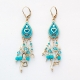 Blue Bead Heart Oriental Earrings by Ester Shahaf