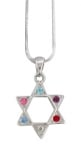 Rhodium Colorful Star of David Pendant Necklace