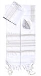 Gabrieli silk Tallit Set in White with Gold and Silver