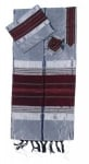 Gabrieli silk Tallit Set in Gray with Red