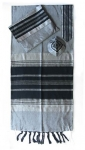 Gabrieli silk Tallit Set in Gray with Black