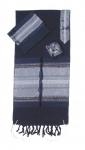 Gabrieli silk Tallit Set in Dark Blue with Silver