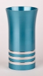 Anodized Aluminium Kiddush Cup By Agayof   Turquoise With Stripes