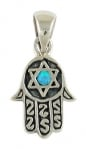 Silver Opal Star of David Hamsa Pendant