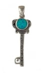 Silver and Opal Woman of Valor Key Pendant