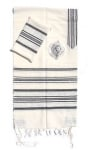 Gabrieli wool Tallit Set in White and Black