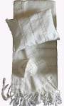 Gabrieli Wool Tallit Set   White with Gold Stripes