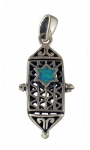 Silver and Opal Star of David Locket Pendant