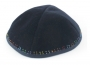 Hand Decorated Velvet Kippah with Colorful border