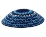 DMC knitted kippah in blue