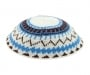 White DMC knitted kippah with brown and blue design