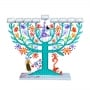Family Tree Hanukkah Menorah  Turquoise