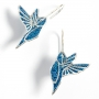 Blue Hummingbird Silver Earrings