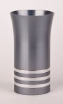 Anodized Aluminium Kiddush Cup By Agayof   Grey With Stripes