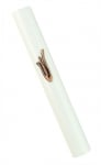 Round white Wood Mezuzah with pink