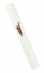 White Wood Mezuzah with gold color