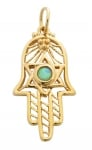 Gold Filled Opal Filigree Hamsa Pendant