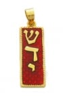 Gold Filled Red Shadai Enamel Mezuzah Pendant