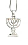 Silver Menorah Rhodium Necklace