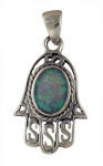 Silver and Opal Filigree Hamsa Pendant