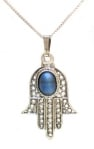 Sterling Silver Hamsa with Stone Pendant
