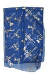 Royal Blue Woman's Head Covering Scarf   Fish design