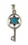 Silver and Opal Star of David Key Pendant