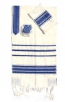 Gabrieli wool Tallit Set in White and Blue