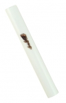Round white Wood Mezuzah