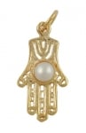 Gold Filled Filigree Hamsa Pearl Pendant