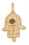 Gold Filled Hamsa Pendant with Garnet
