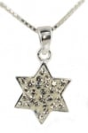 Silver Star of David Pendant with white stones