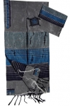 Gabrieli Silk Tallit Set   Gray with Three Shades of Blue